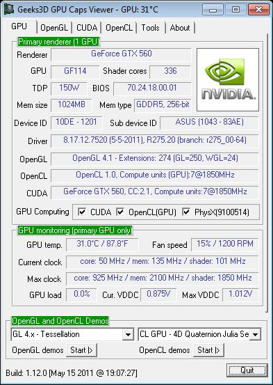 ASUS GTX 560 DC2 TOP + GPU Caps Viewer