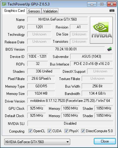 ASUS GTX 560 DC2 TOP + GPU-Z