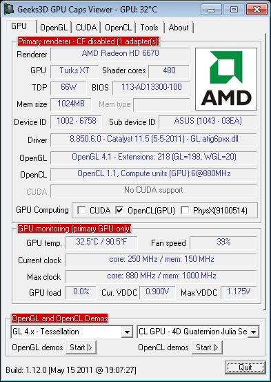 HD 6670 + GPU Caps Viewer
