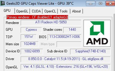 AMD Catalyst 11.5 + Radeon HD 5850