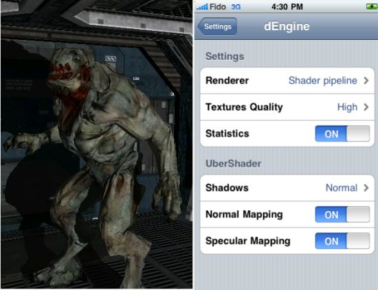 dEngine: OpenGL ES Rendering Engine for iPhone, Source Code Available