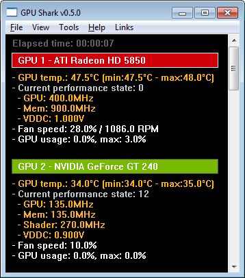 GPU Shark 0.5.0, Rdeon HD 5850, GeForce GT 240