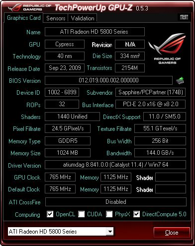 GPU-Z 0.5.3 ROG edition + HD 5850