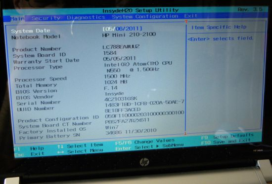 HP Mini 210-2100 Netbook, Insyde H20 BIOS