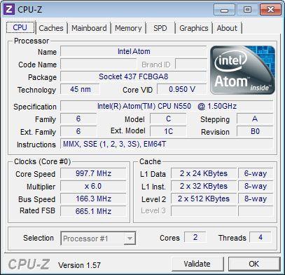 HP Mini 210-2100 Netbook, CPU-Z
