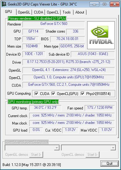 NVIDIA R275.33 + GTX 560 + GPU Caps Viewer