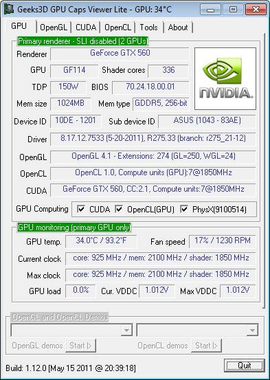 NVIDIA R275.33 + GTX 560 + GPU Caps Viewer