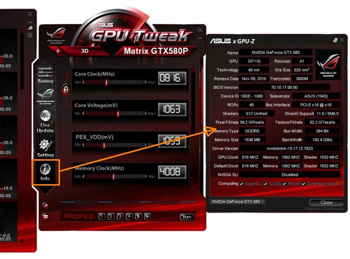 ASUS GPU Tweak overclocking utilit