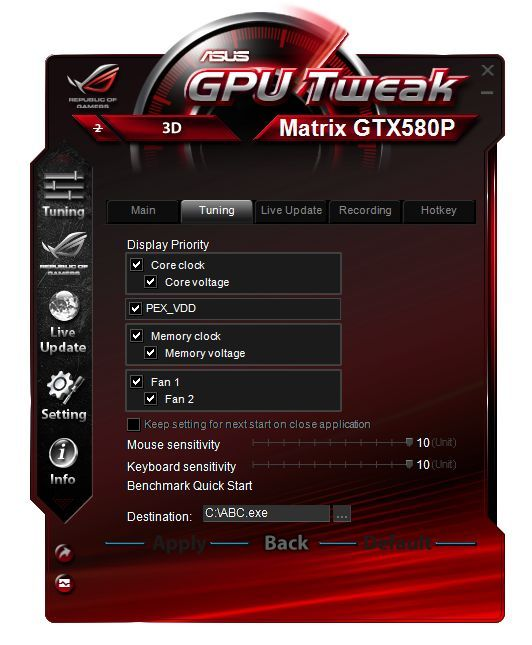 ASUS GPU Tweak overclocking utility