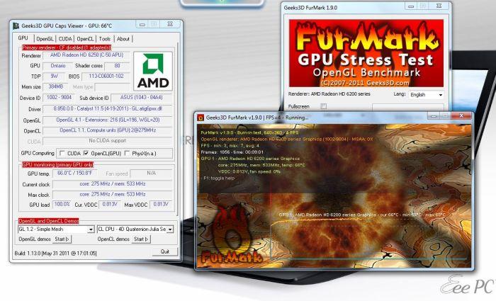 ASUS EeePC 1215B Netbook - FurMark test