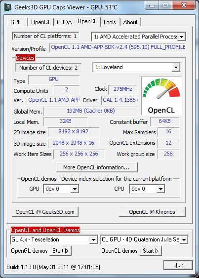 ASUS EeePC 1215B Netbook - OpenCL - GPU Caps Viewer