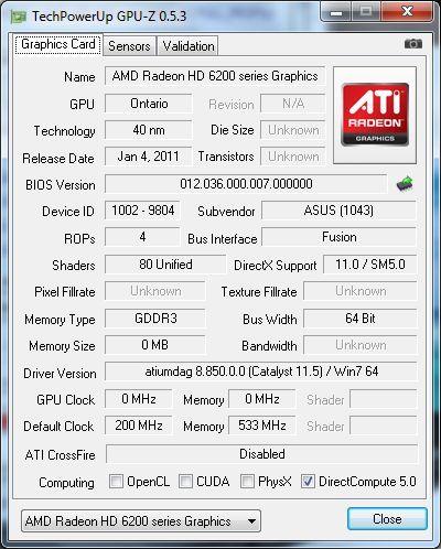 ASUS EeePC 1215B Netbook - GPU-Z