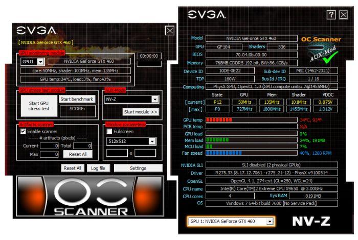 EVGA OC Scanner, NV-Z