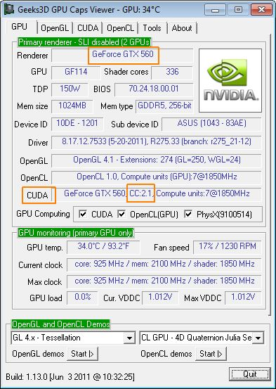 GeForce GTX 560, CUDA Compute Capability 2.1 and GPU Caps Viewer
