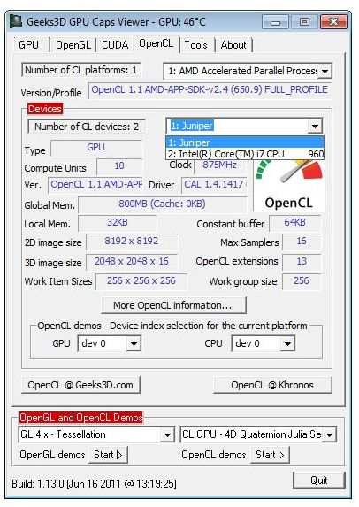 GPU Caps Viewer OpenCL panel