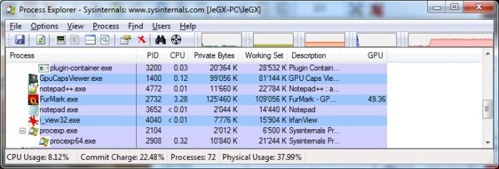 Process Explorer 15.0 With GPU Support