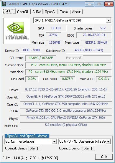 ASUS GeForce GTX 590 Dual-GPU Graphics Card, GPU Caps Viewer details