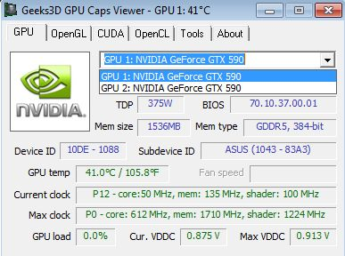 GPU Caps Viewer 1.14.0, selection of the GPU