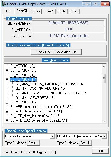 GPU Caps Viewer 1.14.0, glMAXXX