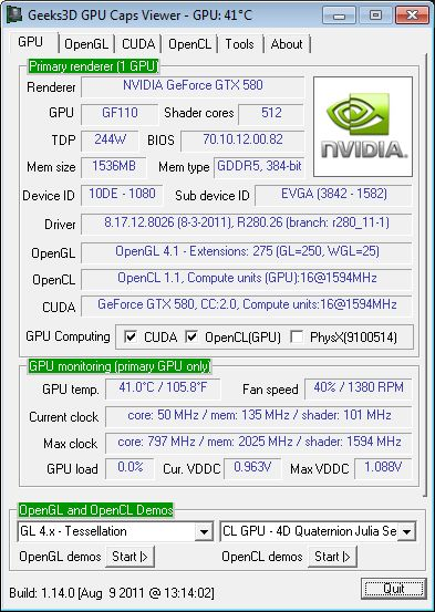 NVIDIA R280.26, GTX 580, OpenGL 4.1
