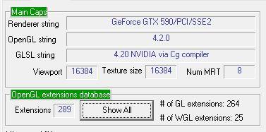 GPU Caps Viewer, OpenGL 4.2 support