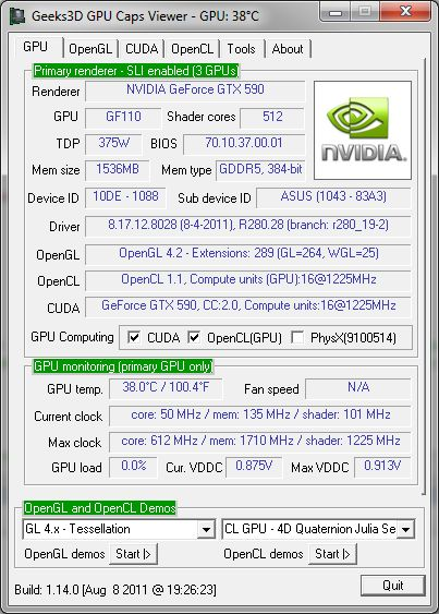 NVIDIA R280.28, GTX 590, OpenGL 4.2