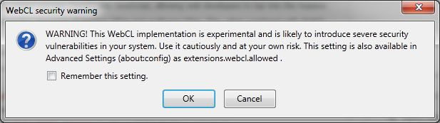 WebCL, Firefox warning