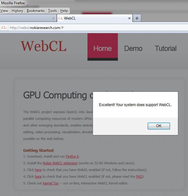 WebCL, Nokia WebCL is okay!