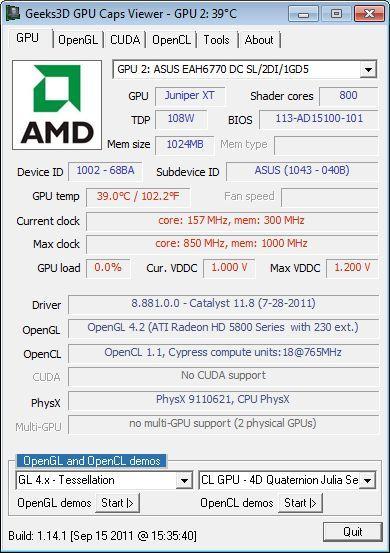 ASUS Radeon HD 6770 DirectCU Silent, GPU Caps Viewer details