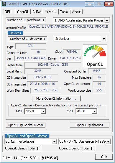 ASUS Radeon HD 6770 DirectCU Silent, GPU Caps Viewer OpenCL details