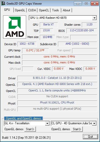 GPU Caps Viewer 1.14.3, Radeon HD 6870