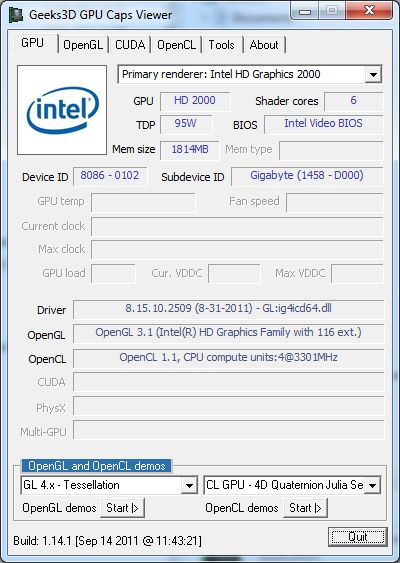 Intel Core i5 / HD 2000 GPU, GPU Caps Viewer, OpenGL support