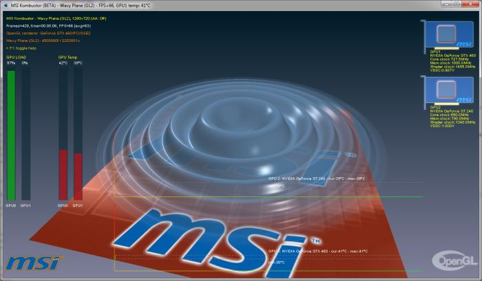 MSI Kombustor, Wavy Plane OpenGL 2 benchmark