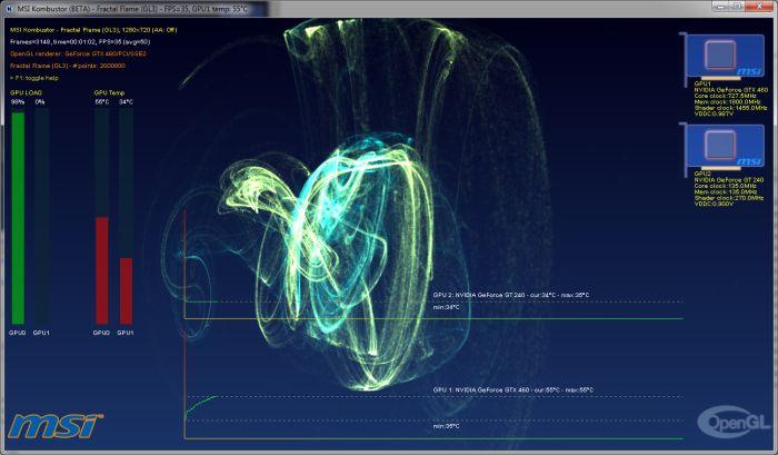 MSI Kombustor 2.2.0, Fractal Flame, OpenGL 3.3 benchmark