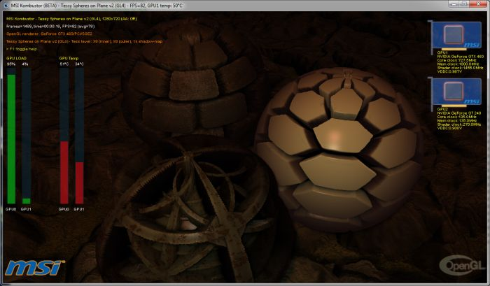 MSI Kombustor 2.2.0, Tessy Spheres on Plane, OpenGL 4 benchmark