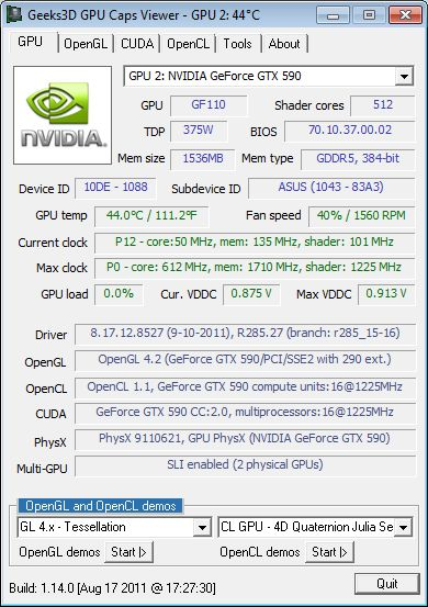 GPU Caps Viewer, NVIDIA R285.27 OpenGL 4.2 driver
