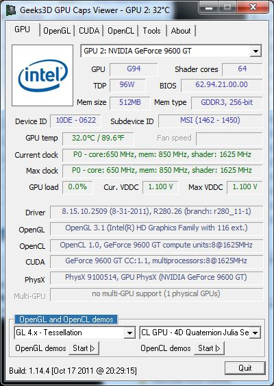 GPU Caps Viewer, MSI GeForce 9600 GT, second GPU