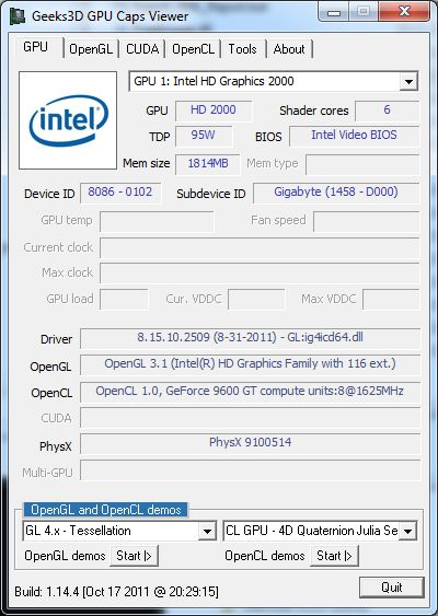 GPU Caps Viewer, Intel HD 2000, first GPU
