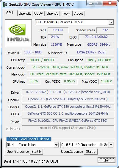 R285.62, GeForce GTX 580, GPU Caps Viewer