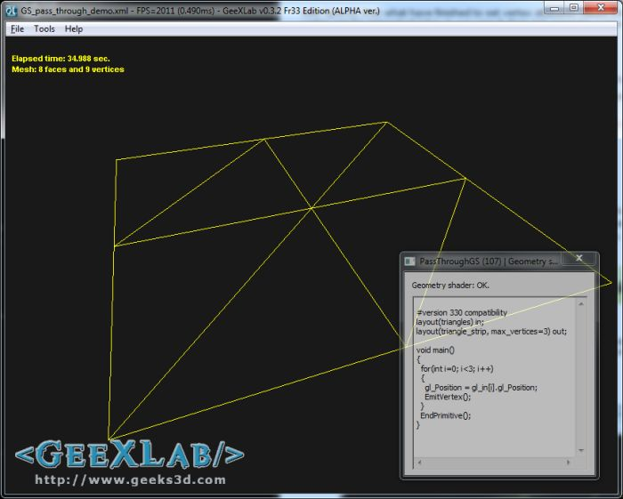 GeeXLab, geometry shader in GLSL