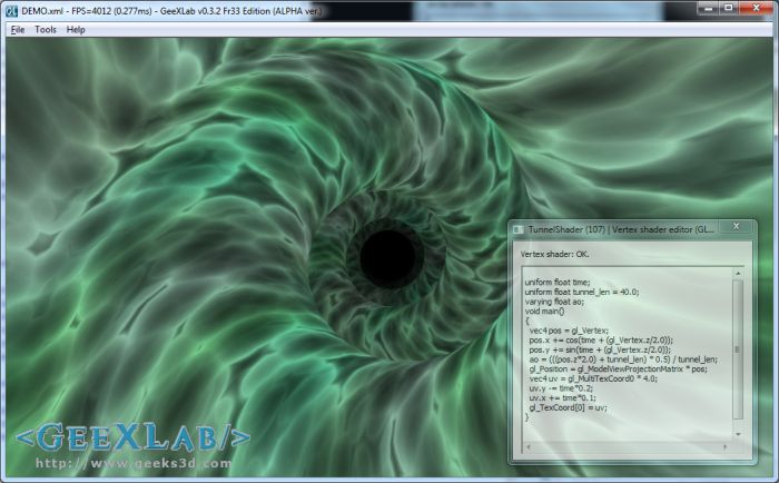 GeeXLab, Tunnel effect with GLSL