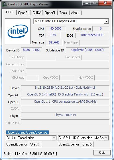 Intel GMA Graphics Drivers v15.22.52.64.2559 and GPU Caps Viewer