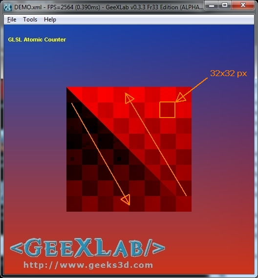 GeeXLab, Atomic Counter demo on Radeon HD 6970