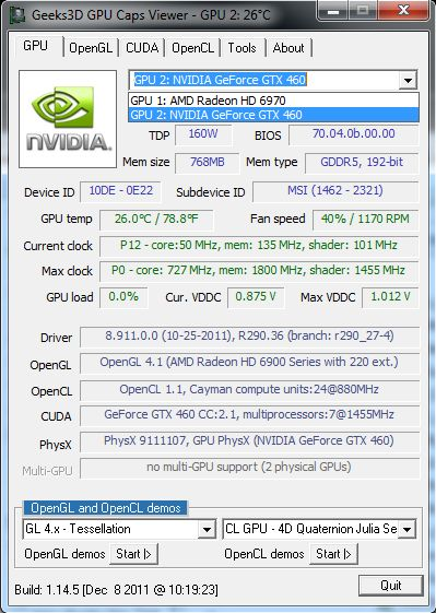 GPU Caps Viewer 1.14.5, GeForce GTX 460