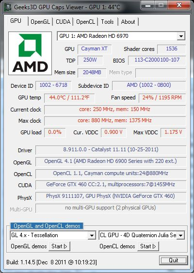 GPU Caps Viewer 1.14.5, Radeon HD 6970