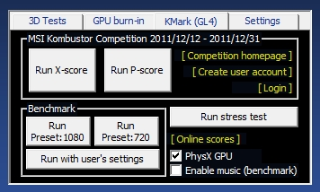 MSI Kombustor, X-score and P-score