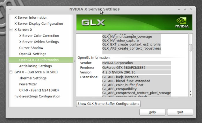 NVIDIA seetings under Linux