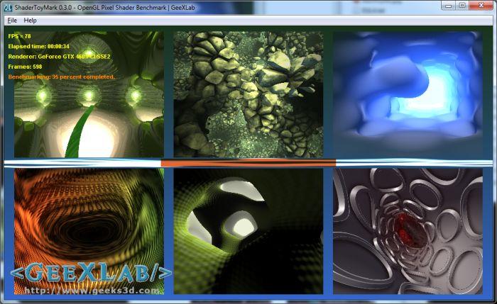 ShaderToyMark 0.3.0 OpenGL Pixel Shader Benchmark, GeeXLab