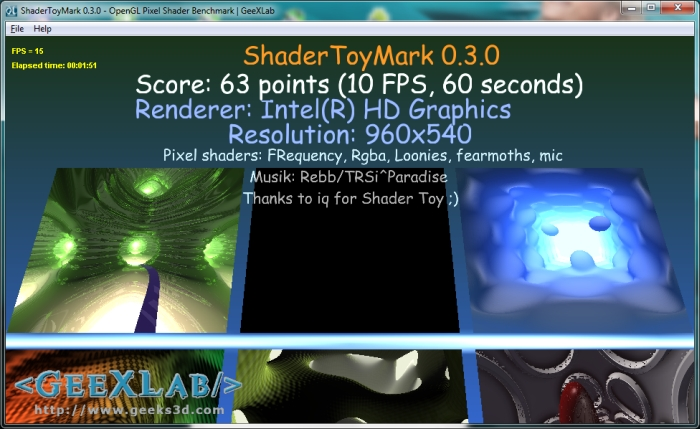 ShaderToyMark 0.3.0 OpenGL Pixel Shader Benchmark running on Intel HD Graphics