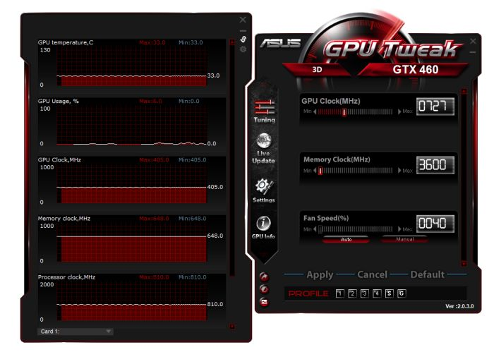 ASUS GPU Tweak, GeForce GTX 460